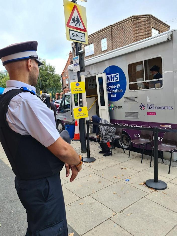 Officers have been deployed at vaccine buses for staff safety (Metropolitan Police)