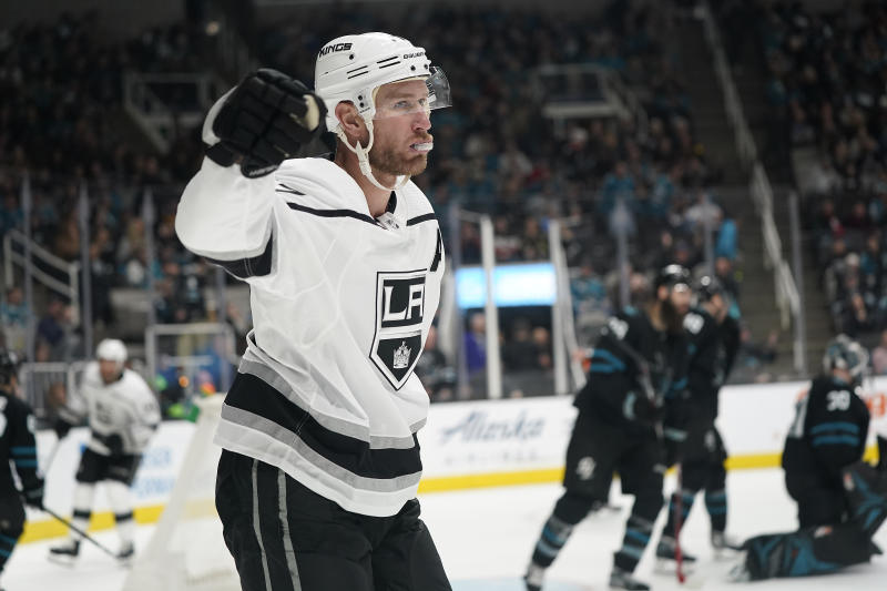 Los Angeles Kings center Jeff Carter (77) reacts after scoring during overtime against the San Jose Sharks in an NHL hockey game in San Jose, Calif., Friday, Dec. 27, 2019. The Kings won 3-2. (AP Photo/Tony Avelar)