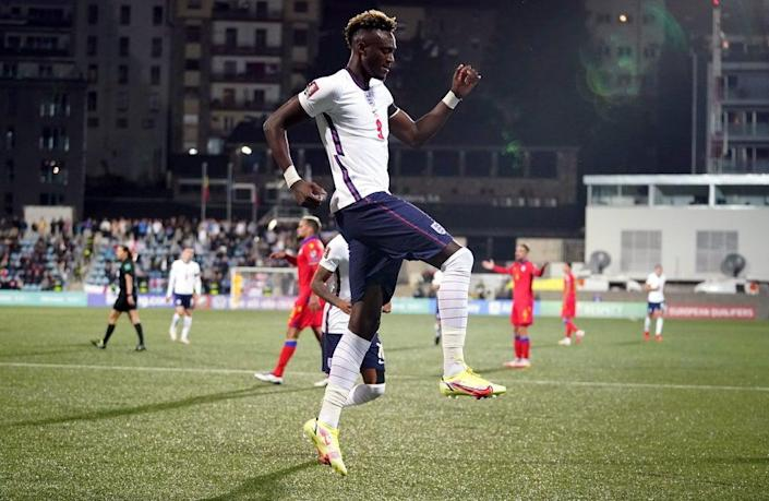 England's Tammy Abraham celebrates his goal in Andorra (Nick Potts/PA) (PA Wire)
