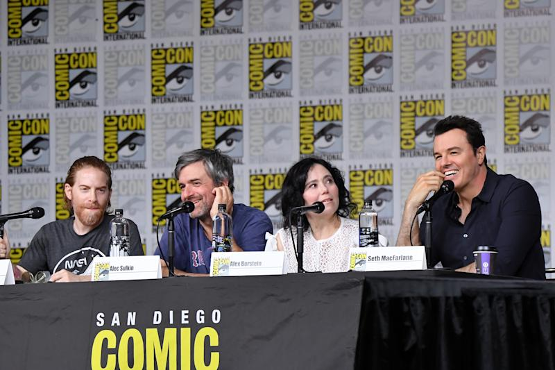 "SAN DIEGO, CA - JULY 21: (L-R) Seth Green, Alec Sulkin, Alex Borstein and Seth MacFarlane speak onstage at the ""American Dad"" and ""Family Guy"" Panel during Comic-Con International 2018 at San Diego Convention Center on July 21, 2018 in San Diego, California. (Photo by Mike Coppola/Getty Images)"