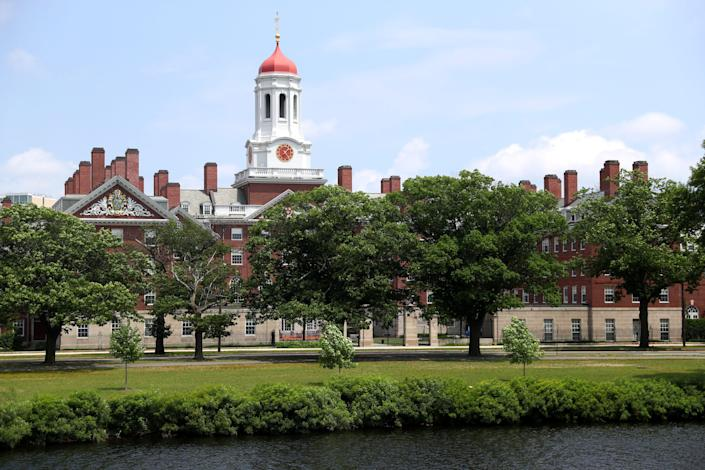A view of the campus of Harvard University on July 08, 2020 in Cambridge, Massachusetts. Harvard and Massachusetts Institute of Technology have sued the Trump administration for its decision to strip international college students of their visas if all of their courses are held online. (Photo by Maddie Meyer/Getty Images)