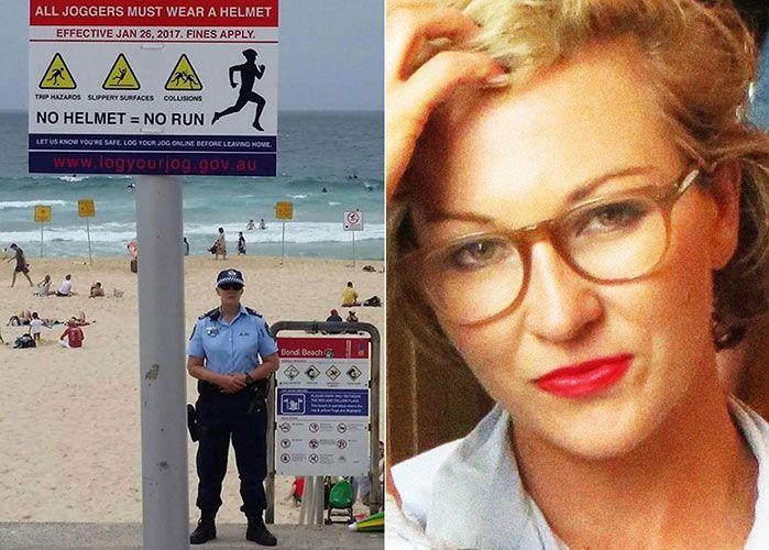 A sign photographed at Bondi Beach (L) and Sydney journalist Siobhan Moylan (R), who posted the image. Photo: Facebook/Siobhan Moylan