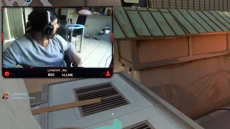 Screenshot of gamer Rhys Lynch turning around to see a magpie fly inside.