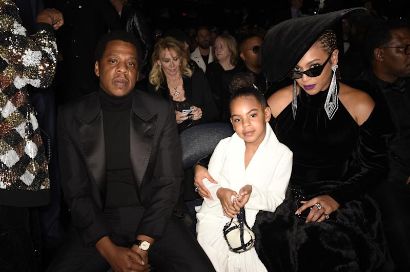 Jay-Z, Blue Ivy and Beyonce at THE 60TH ANNUAL GRAMMY AWARDS
