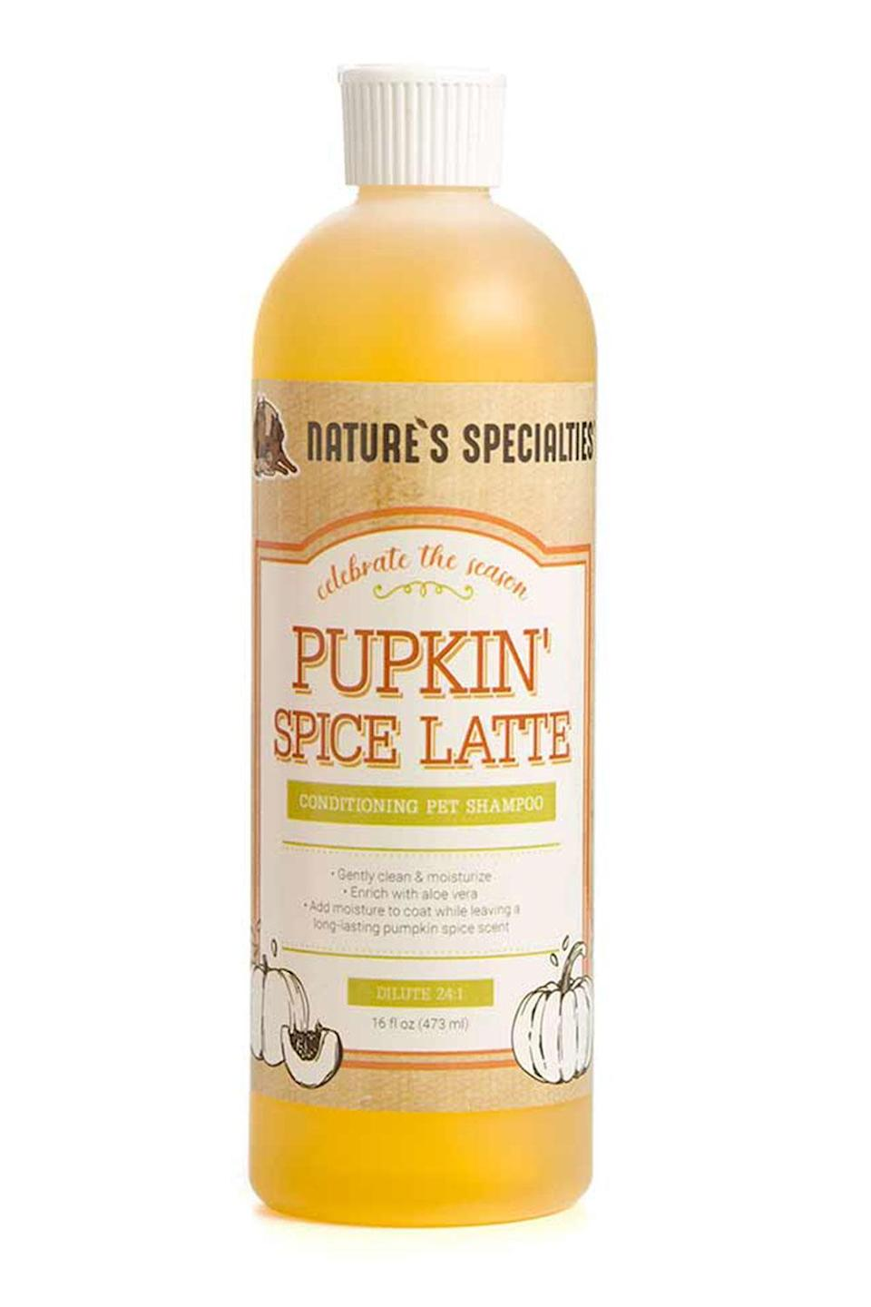 """<p>Smell pumpkin spice instead of wet dog when bathing your pooch, thanks to this autumn-inspired pet shampoo. </p> <p><strong>Buy it!</strong> Pupkin's Spice Latte Conditioning Shampoo, $21.10; <a href=""""https://www.naturesspecialties.com/collections/seasonal/products/pupkin-spice-latte-conditioning-shampoo?variant=31940408508514"""" rel=""""nofollow noopener"""" target=""""_blank"""" data-ylk=""""slk:NaturesSpecialties.com"""" class=""""link rapid-noclick-resp"""">NaturesSpecialties.com</a></p>"""