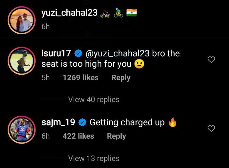 Sajid Mahmood also left a comment on Yuzvendra Chahal's recent Instagram post.