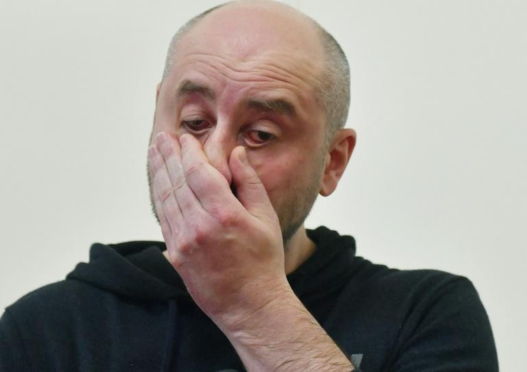 Russian anti-Kremlin journalist Arkady Babchenko reacts during a press conference at Ukrainian Security Service in Kiev on Wednesday after Ukraine admitted it had staged his murder the previous night in order to foil an attempt on his life by Russia