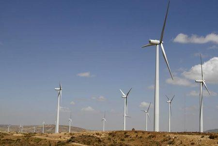 Wind turbines are erected at the Ashegoda Wind Farm near a village in Mekelle