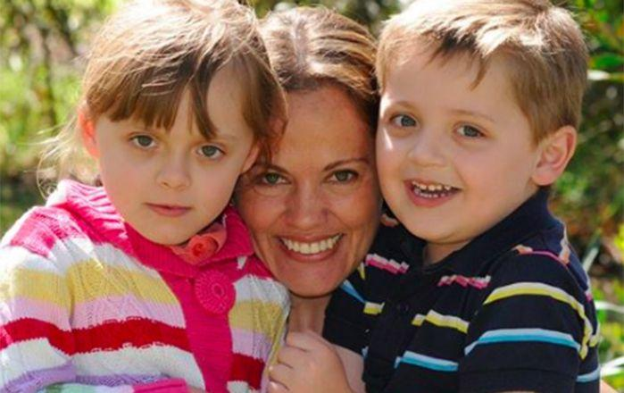 Maria Claudia Lutz with her children Elisa and Martin. Image: Facebook