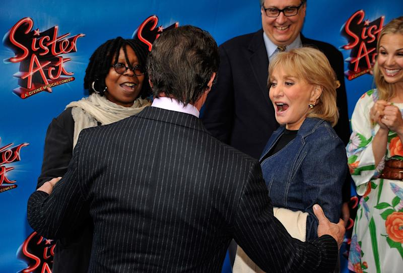 NEW YORK, NY - APRIL 20: (L-R) Actress/producer Whoopi Goldberg, actor Sylvester Stallone and TV personality Barbara Walters attend the Broadway opening night of 'Sister Act' at the Broadway Theatre on April 20, 2011 in New York City. (Photo by Joe Corrigan/Getty Images)