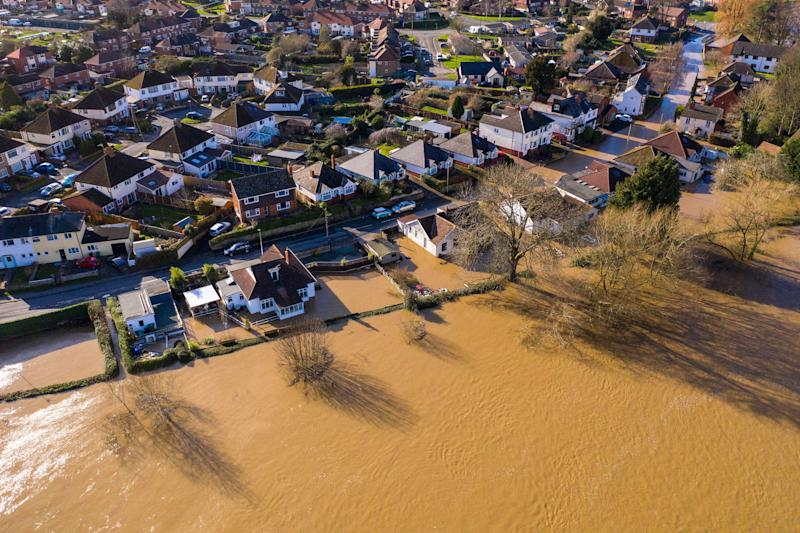 Flooding from the River Wye in Hereford following Storm Dennis. (Photo: Christopher Furlong via Getty Images)