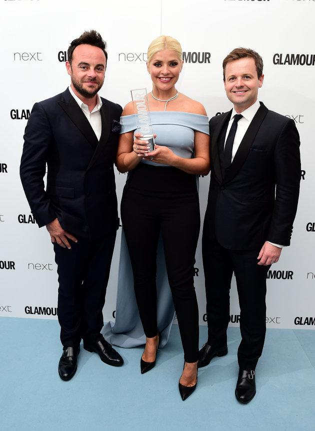 Ant (left) with Holly and Dec.