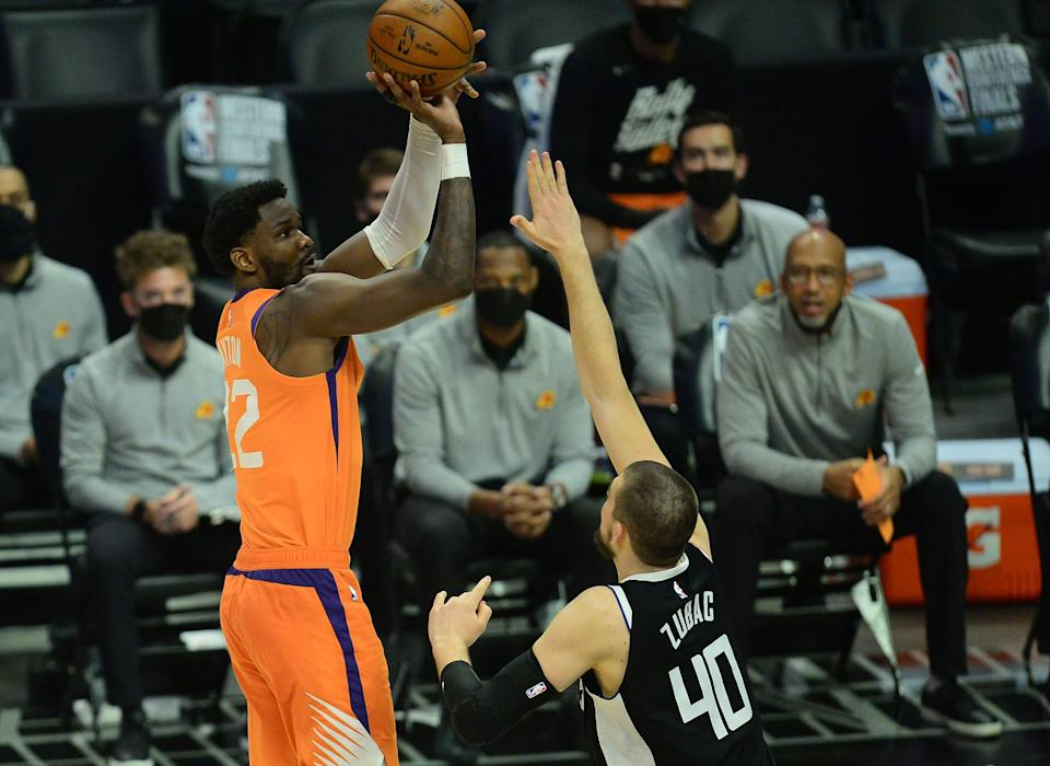 In his first playoffs, Deandre Ayton became the first player in 38 years to shoot at least 50% in his first 14 career playoff games (70.9%).