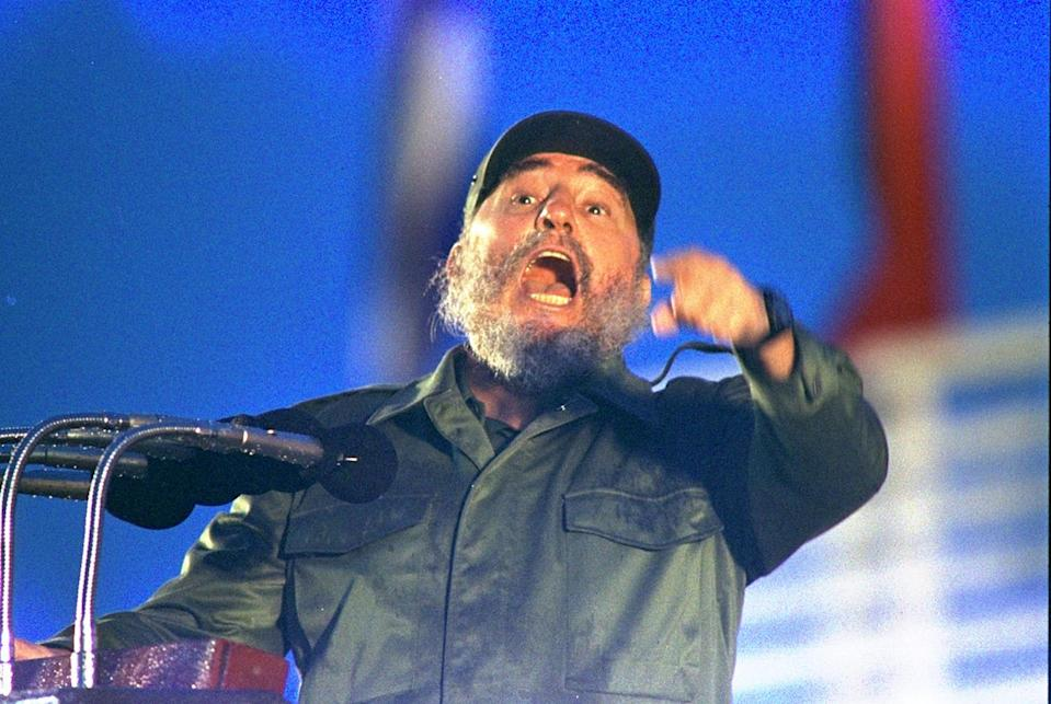 <p>Cuban President Fidel Castro gets emotional as he speaks about U.S. President Bush's warm welcome during his recent trip to Communist Hungary and Poland. Castro was speaking in Camaguay, July 26, 1989, to mark the 36th anniversary of his troops first attack on the Batista regime. (AP Photo/Charles Tasnadi) </p>