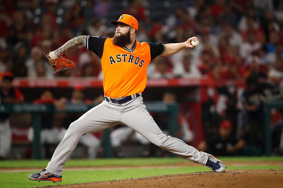 Houston Astros starting pitcher Dallas Keuchel throws against the Los Angeles Angels during the sixth inning of a baseball game, Friday, Aug. 24, 2018, in Anaheim, Calif. (AP Photo/Jae C. Hong)