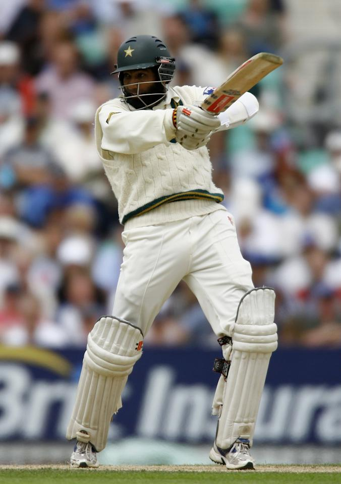 LONDON - AUGUST 18:  Mohammad Yousuf of Pakistan hits out during day two of the fourth npower test match between England and Pakistan at the Oval on August 18, 2006 in London, England.  (Photo by Clive Mason/Getty Images)