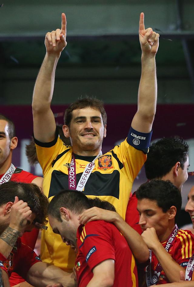 KIEV, UKRAINE - JULY 01: Captain Iker Casillas of celebrates after victory during the UEFA EURO 2012 final match between Spain and Italy at the Olympic Stadium on July 1, 2012 in Kiev, Ukraine. (Photo by Handout/UEFA via Getty Images)