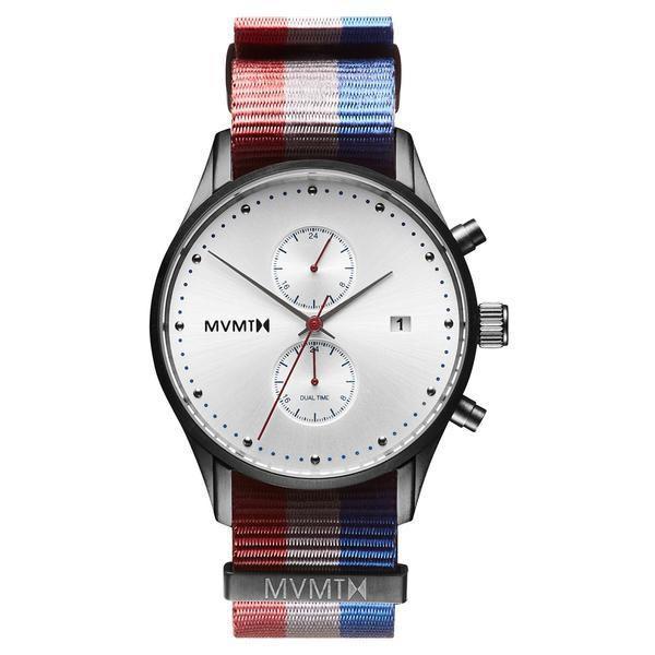 "<p>$112</p><p><a rel=""nofollow"" href=""https://www.mvmtwatches.com/collections/all-mens-watches/products/patriot"">BUY IT HERE</a> </p><p>A watch that blends its simple modern dial with a unique graphic nylon strap. It's an affordable option for guys looking to kick-up their wristwatch game. <strong> </strong></p>"