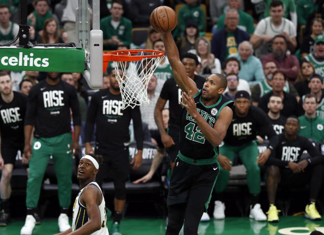 """<a class=""""link rapid-noclick-resp"""" href=""""/nba/teams/boston/"""" data-ylk=""""slk:Boston Celtics"""">Boston Celtics</a> center <a class=""""link rapid-noclick-resp"""" href=""""/nba/players/4245/"""" data-ylk=""""slk:Al Horford"""">Al Horford</a> will reportedly decline his $30.1 million player option and become a free agent. (AP Photo/Winslow Townson)"""