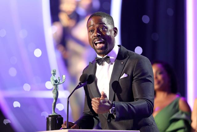 Sterling K. Brown onstage during the 24th Screen Actors Guild Awards at the Shrine Auditorium on Jan. 21 in Los Angeles. (Photo: Getty Images)
