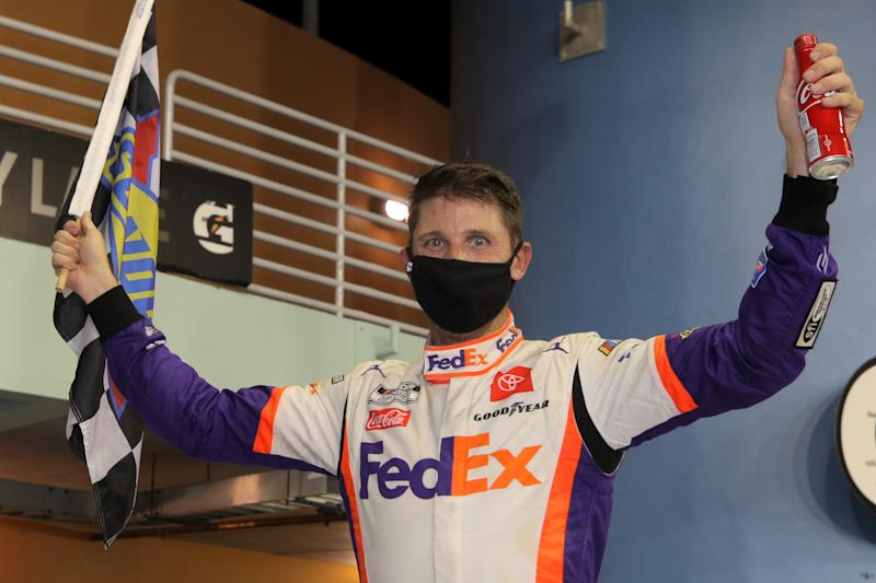 HOMESTEAD, FLORIDA - JUNE 14: Denny Hamlin, driver of the #11 Toyota, celebrates in Victory Lane after winning the NASCAR Cup Series Dixie Vodka 400 at Homestead-Miami Speedway on June 14, 2020 in Homestead, Florida. (Photo by Chris Graythen/Getty Images)