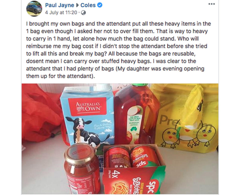 All these things were packed into a single bag, despite the customer telling the cashier he had more. Source: Paul Jayne Facebook