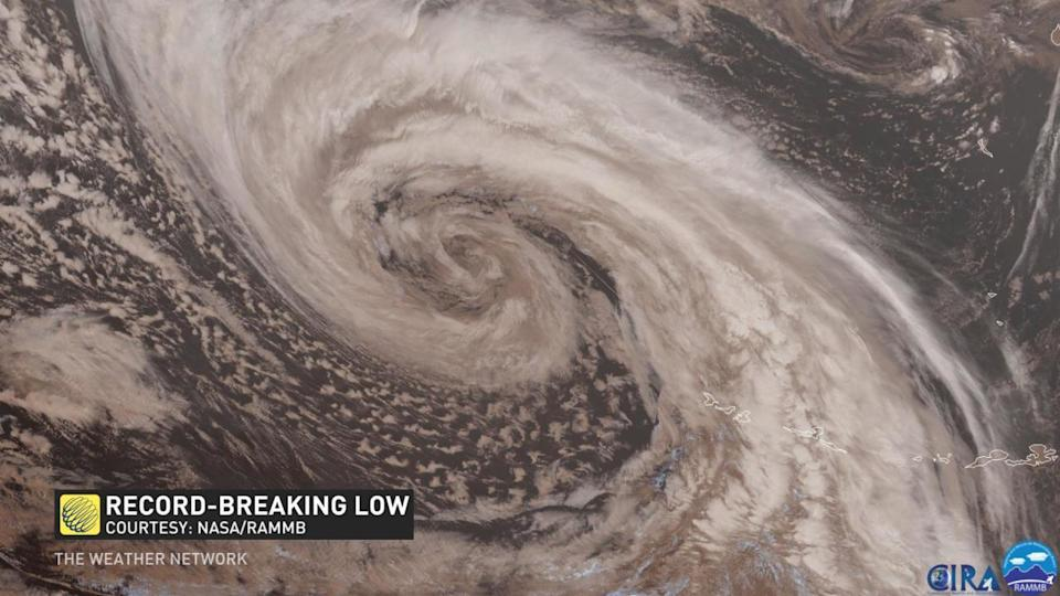 Strongest low in the world heading towards Alaska