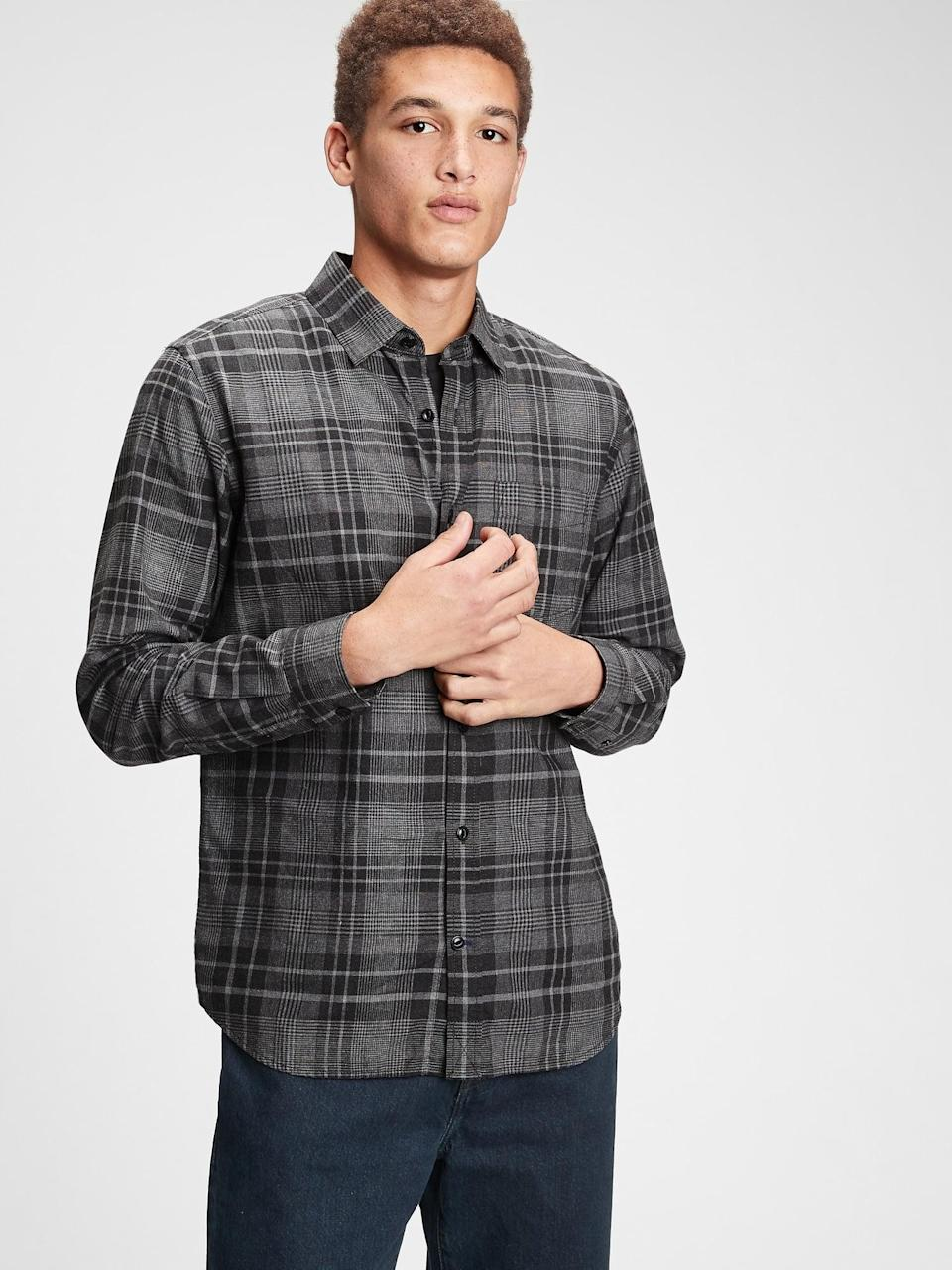 <p>He'll love this <span>Gap Smart Flannel Shirt</span> ($53, originally $60) for years to come.</p>