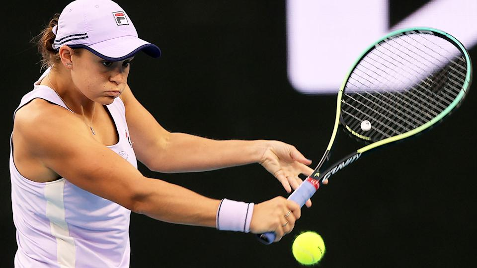 Pictured here, Ash Barty hits a backhand in her third round win at the Australian Open.