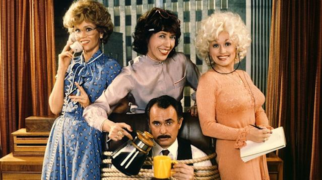 Jane Fonda, Lily Tomlin, Dolly Parton, and Dabney Coleman in the original <i>9 to 5</i> (Photo: 20th Century Fox)