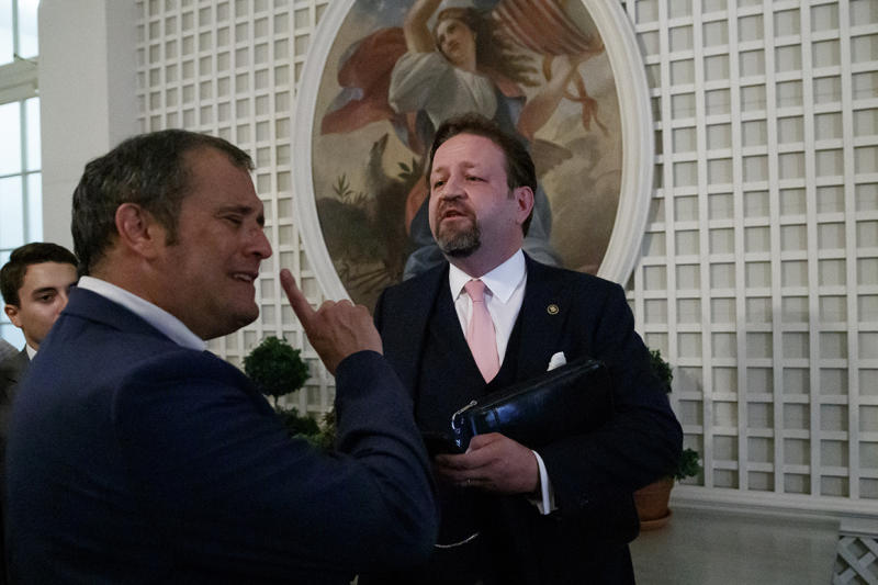 Radio host Sebastian Gorka (right) argues with Playboy's Brian Karem after President Donald Trump spoke about the 2020 census in the Rose Garden of the White House on July 11, 2019.