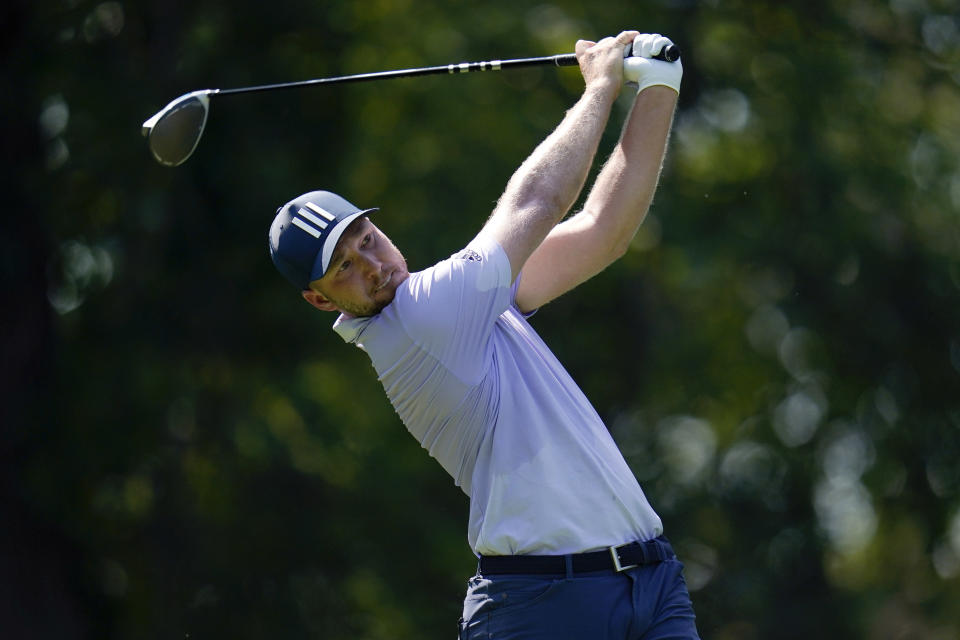 Daniel Berger tees off on the fifth hole during the first round of the BMW Championship golf tournament, Thursday, Aug. 26, 2021, at Caves Valley Golf Club in Owings Mills, Md. (AP Photo/Julio Cortez)