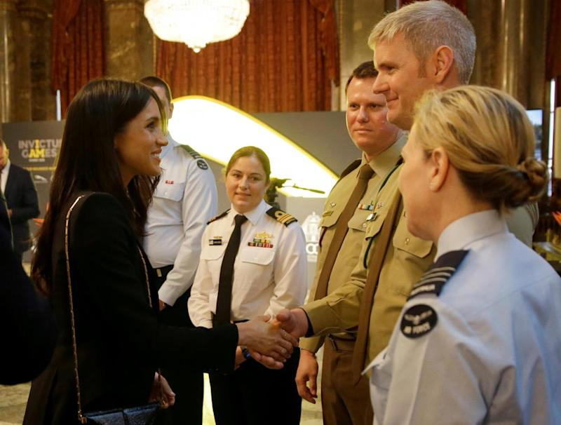 Meghan Markle spoke to members of the Australian Defence Force during the reception (REUTERS)