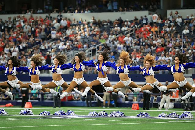 <p>The Dallas Cowboys cheerleaders perform before a game against the Kansas City Chiefs and the Dallas Cowboys at AT&T Stadium on November 5, 2017 in Arlington, Texas. (Photo by Ronald Martinez/Getty Images) </p>