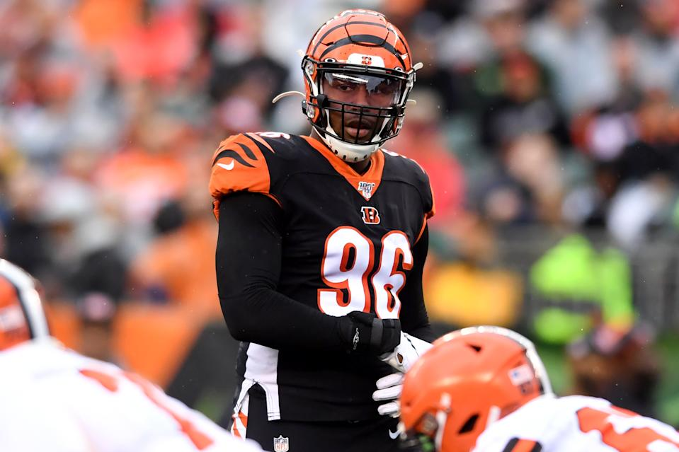 CINCINNATI, OH - DECEMBER 29, 2019: Defensive end Carlos Dunlap #96 of the Cincinnati Bengals waits for the snap in the third quarter of a game against the Cleveland Browns on December 29, 2019 at Paul Brown Stadium in Cincinnati, Ohio. Cincinnati won 33-23. (Photo by: 2019 Nick Cammett/Diamond Images via Getty Images)