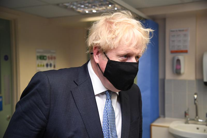 Prime Minister Boris Johnson during a visit to Tollgate Medical Centre in Beckton in East London.