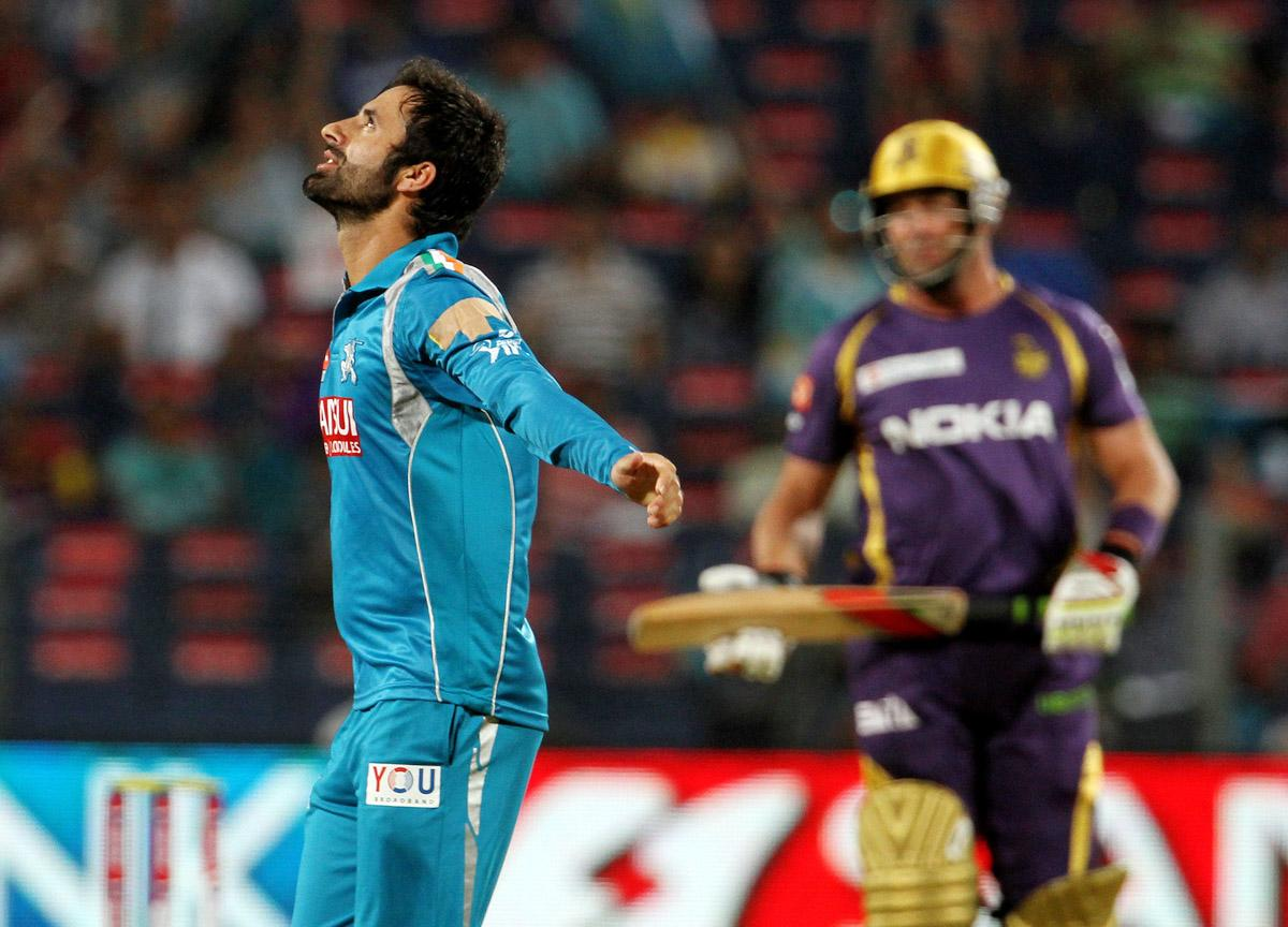 Pune Warriors player Parveez Rasool celebrates after taking the wicket of Kolkata Knight Riders player Jacques Kallis during match 56 of the Pepsi Indian Premier League ( IPL) 2013  between The Pune Warriors India and the Kolkata Knight Riders held at the Subrata Roy Sahara Stadium, Pune on the 9th May 2013. (BCCI)