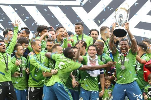 The Seattle Sounders, here celebrating their 3-1 win over Toronto FC in the 2019 MLS Cup final, launch their 2020 season against the Chicago Fire