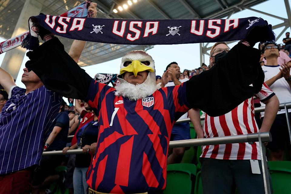 A United States fan cheers before the World Cup qualifier against Jamaica at Q2 Stadium in Austin, Texas.
