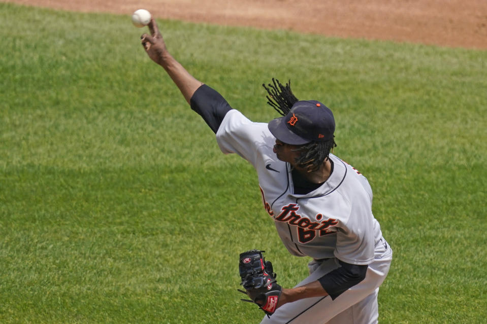 Detroit Tigers starting pitcher Jose Urena throws against the Chicago White Sox during the first inning of a baseball game in Chicago, Sunday, June 6, 2021. (AP Photo/Nam Y. Huh)