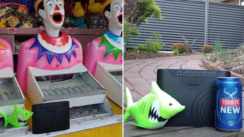 The modem is seen in front of a laughing clown game and with a cold beer.
