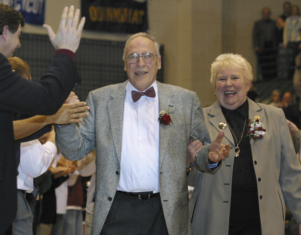 Mount St. Mary's men's NCAA college basketball coach Jim Phelan and his wife Dottie in 2003.