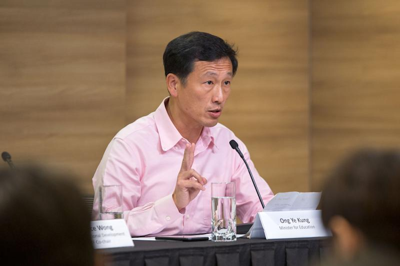 Minister for Education Ong Ye Kung speaking at the Multi-Ministry press conference on Monday (27 January). (PHOTO: Dhany Osman / Yahoo News Singapore)