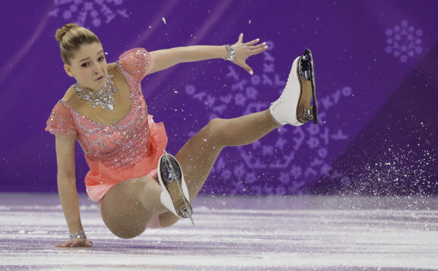 <p>Maria Sotskova of the Olympic Athletes of Russia falls while performing during the women's short program figure skating in the Gangneung Ice Arena at the 2018 Winter Olympics in Gangneung, South Korea, Wednesday, Feb. 21, 2018. (AP Photo/Bernat Armangue) </p>