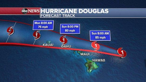 PHOTO: Douglas will be impacting the Hawaiian Islands today and tomorrow with wind, rain and rough surf. There is also a threat for flash flooding and landslides due to heavy rain forecasted. (ABC News)