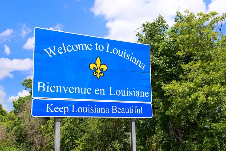 louisiana state welcome sign