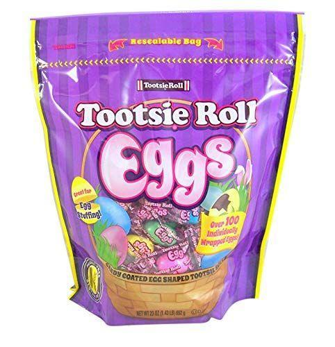 """<p><strong>Tootsie Roll</strong></p><p>amazon.com</p><p><strong>$14.99</strong></p><p><a href=""""https://www.amazon.com/dp/B07NC9XDWF?tag=syn-yahoo-20&ascsubtag=%5Bartid%7C10070.g.2201%5Bsrc%7Cyahoo-us"""" rel=""""nofollow noopener"""" target=""""_blank"""" data-ylk=""""slk:Shop Now"""" class=""""link rapid-noclick-resp"""">Shop Now</a></p><p>Classic Tootsie Rolls get an egg-stra special twist thanks to a sweet candy coating and a seasonal shape.</p>"""