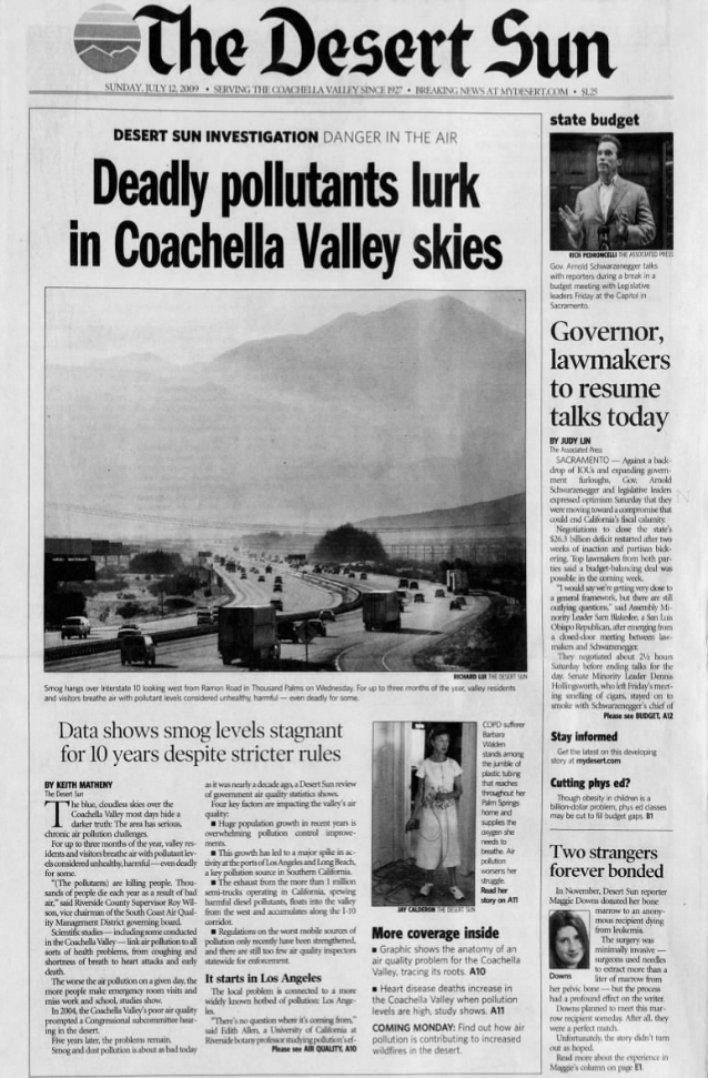 The Coachella Valley's air pollution problems aren't new. This July 2009 Desert Sun article explores how air quality improvement measures had stalled for the preceding 10 years.