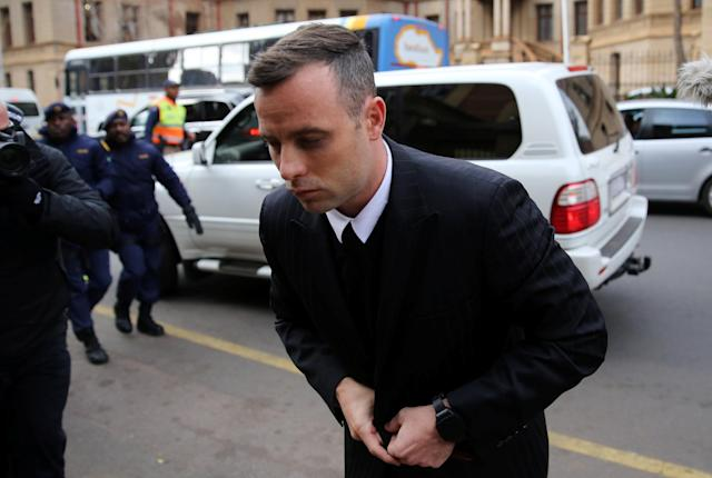 Former Paralympian Oscar Pistorius arrives to be sentenced for the murder of his girlfriend, Reeva Steenkamp, at Pretoria High Court, South Africa June 14, 2016. REUTERS/Siphiwe Sibeko