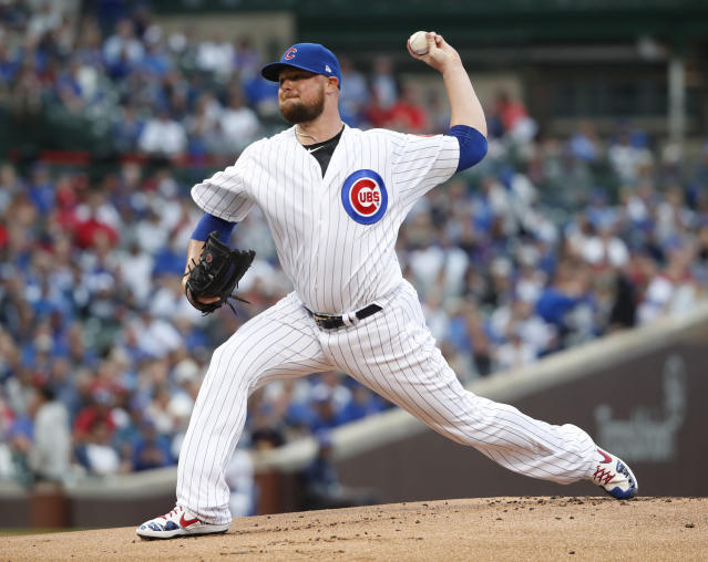 Chicago Cubs starting pitcher Jon Lester delivers during the first inning of a baseball game against the St. Louis Cardinals, Saturday, June 8, 2019, in Chicago. (AP Photo/Jeff Haynes)